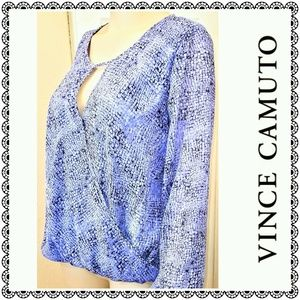 {Vince Camuto} lavender print crossover top, LP